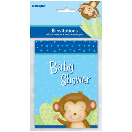 Blue Monkey Baby Shower Invitations, 8-Count (Monkey Invitations)