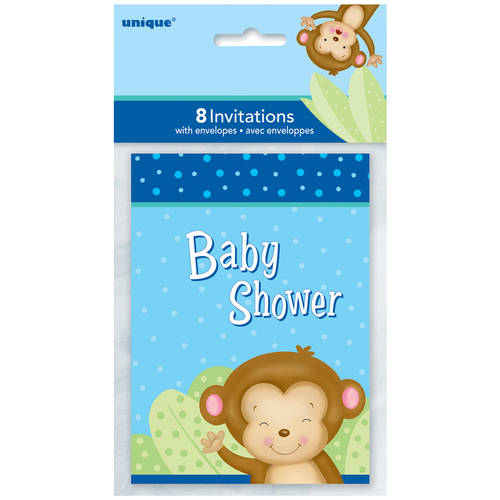 Blue Monkey Baby Shower Invitations, 8-Count