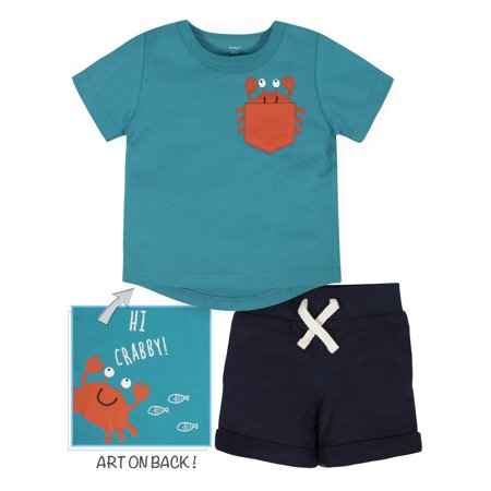 Gerber Baby Boys Short Sleeve Tee and Shorts Set, 2-Piece Boys Navy Short Set