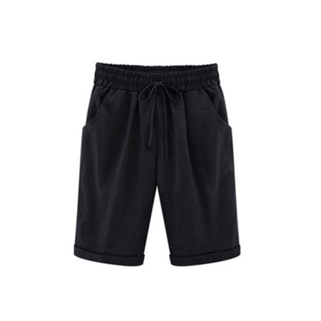 - Women Elastic Waist Bermuda Shorts Plus Size Short Trouser Pocket Cropped Sport