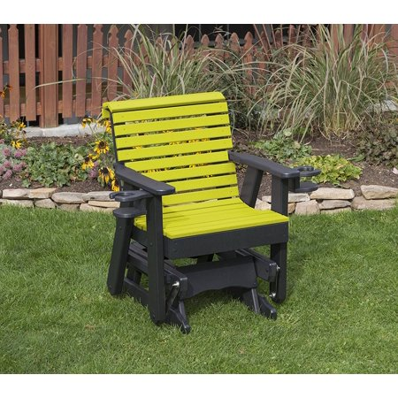 Amish Poly Lumber - Outdoor Garden Exterior Yellow Finish 2 Ft Poly Lumber Roll Back Everlasting Amish Crafted Traditional Glider With Cupholder Arms