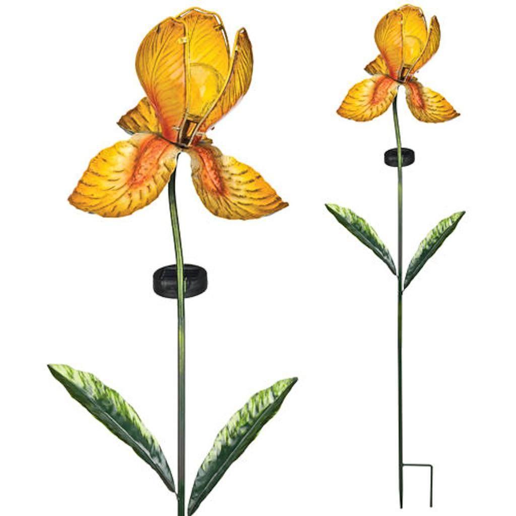 "Regal Art  and  Gift 11249 - 39"" x 8"" Yellow iris Garden Stake Solar LED Light"