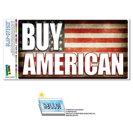 Buy American - USA Flag SLAP-STICKZ(TM) Premium Sticker (Jack Flag Stickers)
