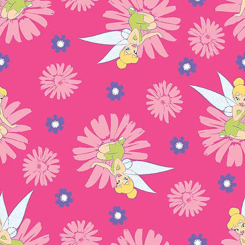 Springs Creative Disney Tink Fairy Happy Summer Badge Fabric by the Yard