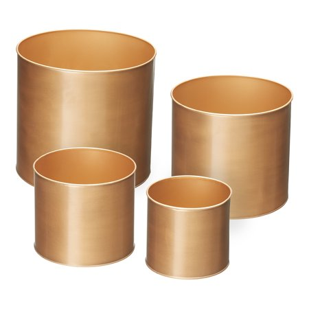Mainstays Burkley Brushed Gold Planters, Set of Four