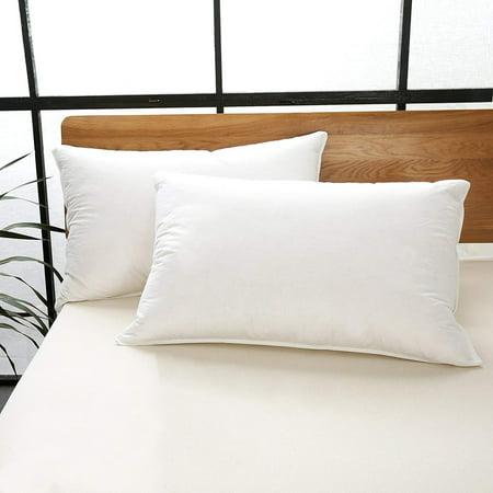 Hotel Medium-Density White Goose Feather Pillow (2-Pack), Queen Medium Density Bed Pillows