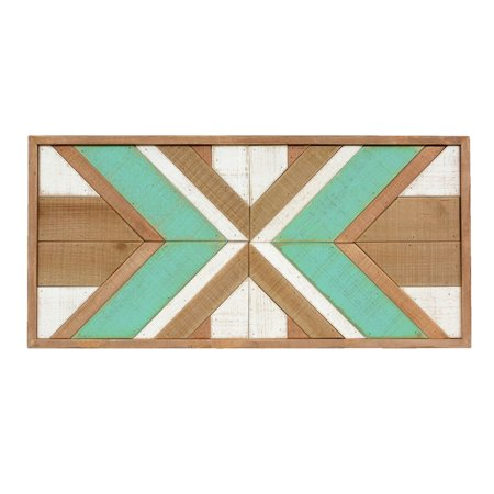 Southwest Inlay - Turquoise Southwest Blanket Wood Wall Art - CLEARANCE