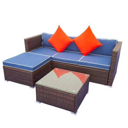 Clearance! Wicker Bistro Patio Sets, Outdoor Rattan Patio Sofa Furniture, Sectional Sofa Sets w/ 3-Seating Sofa, 1 Ottoman&Coffee Table, Outdoor Conversation Sets for Backyard Lawn Pool, Blue, W10973