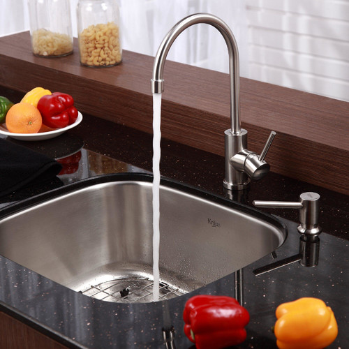 Kraus Stainless Steel Undermount Single Bowl Kitchen Sink with Kitchen Faucet and Soap Dispenser