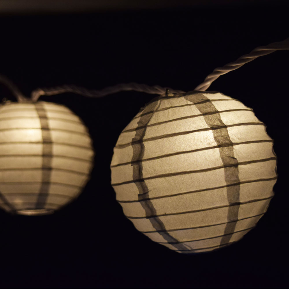 "Quasimoon 10 Socket Silver Round Paper Lantern Party String Lights (4"" Lanterns) by PaperLanternStore"