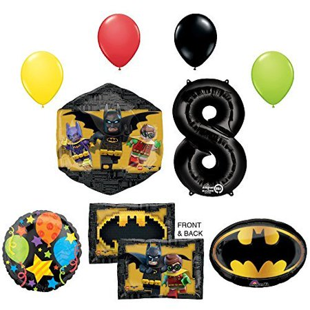 The Lego Batman Movie 8th Birthday Party Supplies and Balloon - Lego Batman Birthday Party Supplies