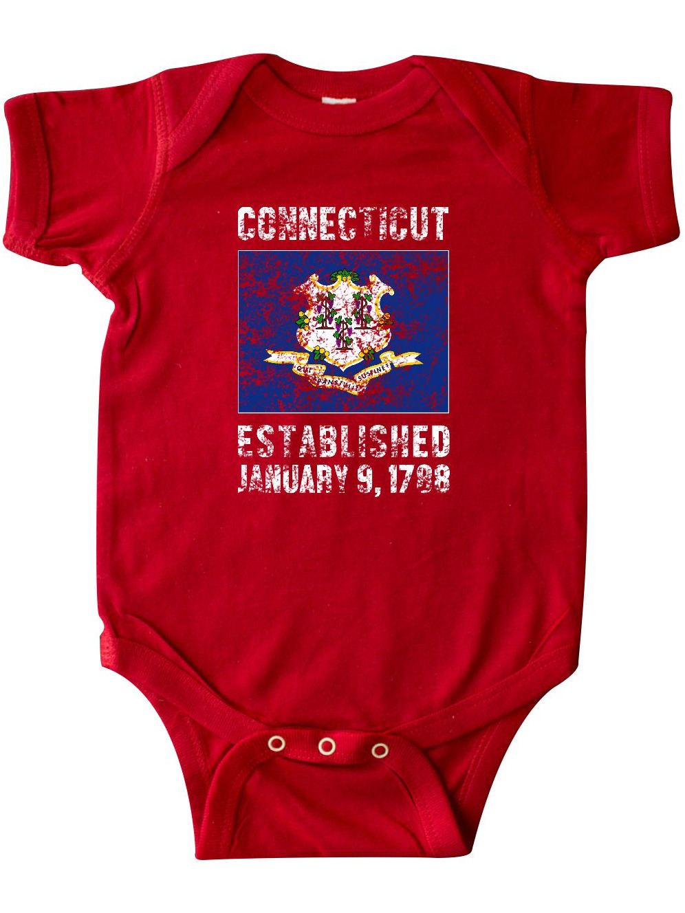 Established January 9, 1788 Connecticut Flag Infant Creeper by Inktastic