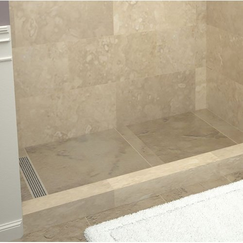 "Tile Redi RT3448L-PVC-SQ Redi Trench 48"" X 34"" Three Wall Alcove Shower Pan with"