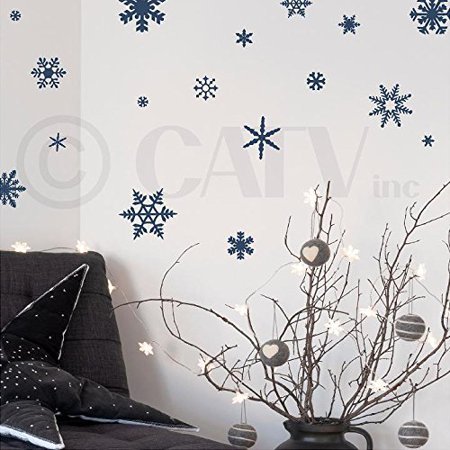 Small snowflakes set of 30 vinyl lettering wall pattern decals (Navy) (Snowflake Decals)