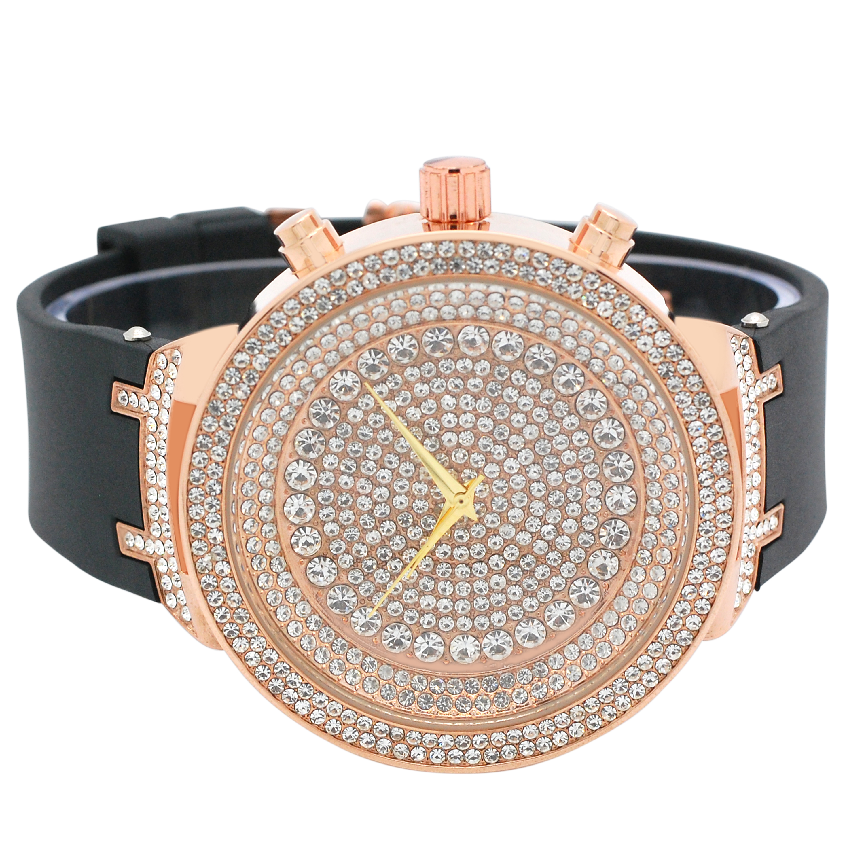 Mens Ice Master Fully Iced out Icy White Stones Rose Gold Case with Black Silicone Band