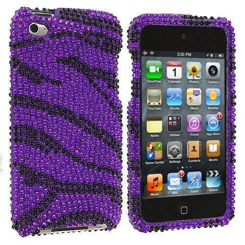 Zebra Bling Rhinestone Diamond Snap-On Hard Sking Case Cover for Apple Ipod Touch iTouch 4th Generation 4g 4 8gb 32gb 64gb by Electromaster-Black/Purple