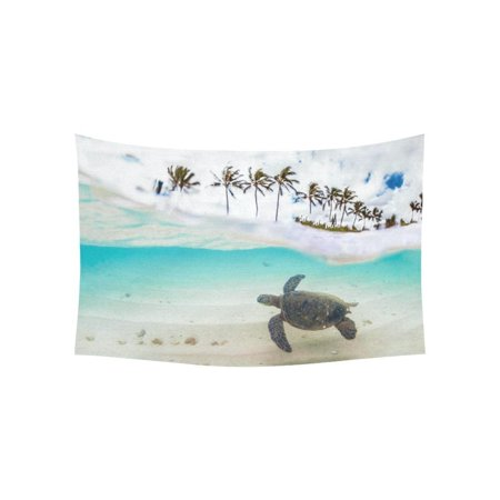 PHFZK Ocean Theme Wall Art Home Decor, Beautiful Tropical Beach with Green Sea Turtle and Palm Tree Tapestry Wall Hanging 40 X 60 Inches - Beach Themed Classroom