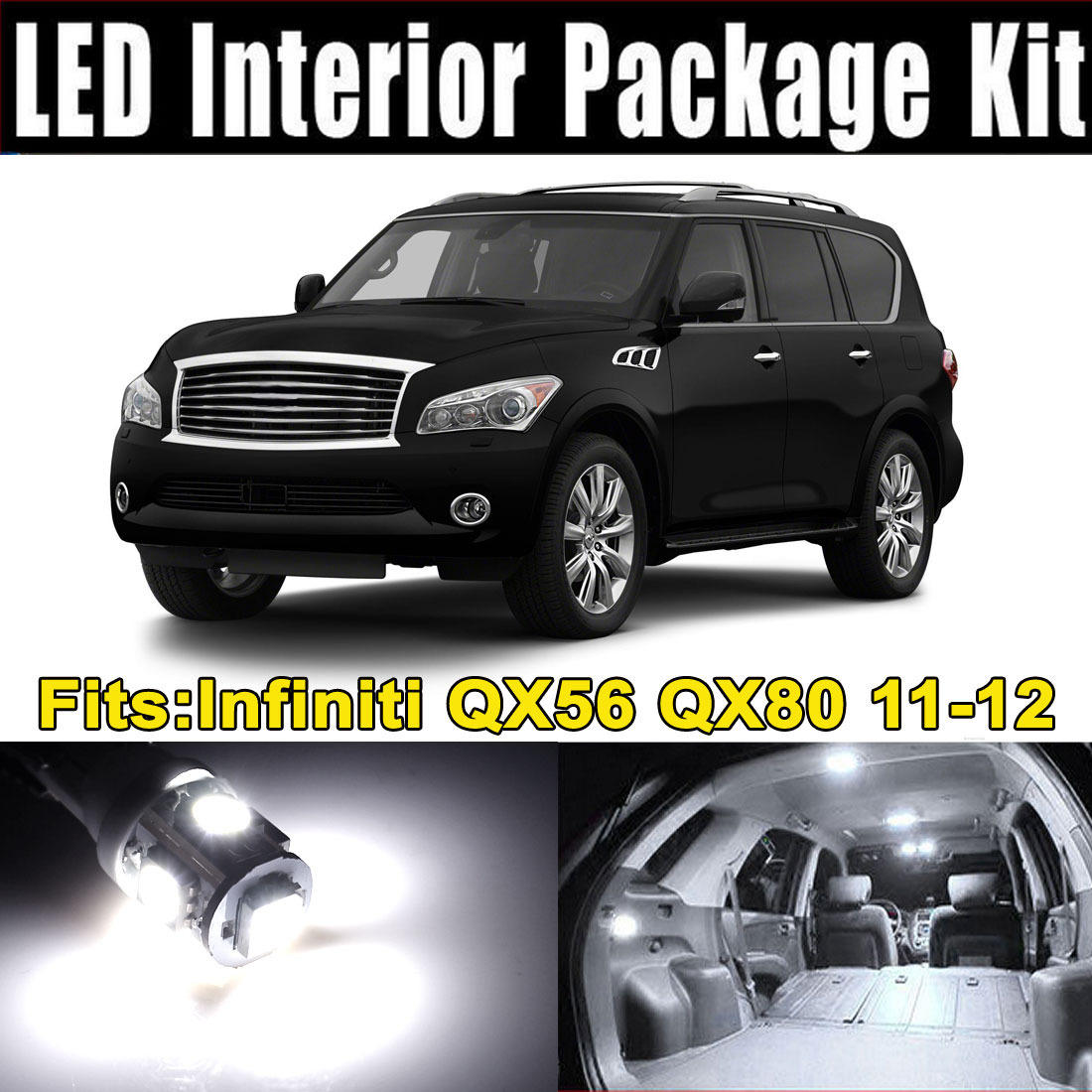 15Pcs LED Lights White Interior Dome Map Lamp Kit for Infiniti QX56 QX80 (14xT10-5-5050+1x31MM-12-3528)