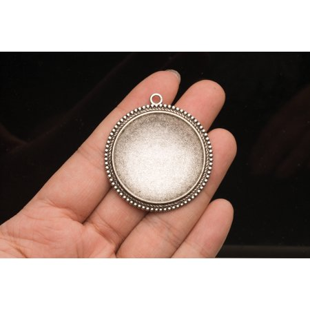 3 Counts Friendship Necklace Locket Round Silver Locket Charms For Photo ()