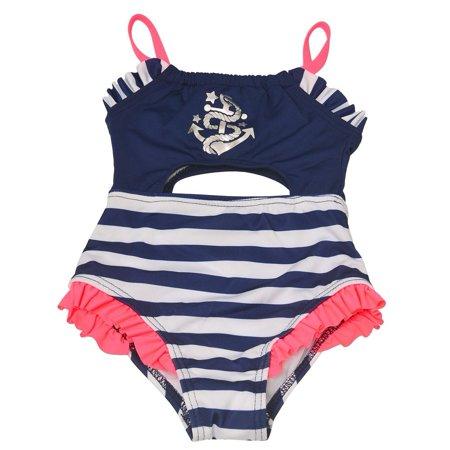Penelope Mack Baby Girls Navy Stripe Anchor Detail One Piece Swimsuit