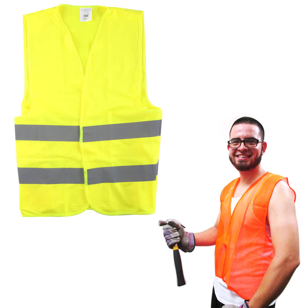 New Construction Traffic Safety Vest Mesh School Hunting Orange Yellow One Size by TCB IMPORTS