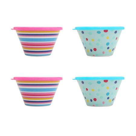 Mainstays Kids 4 Pack Melamine Berry Bowl With Lid  Multiple