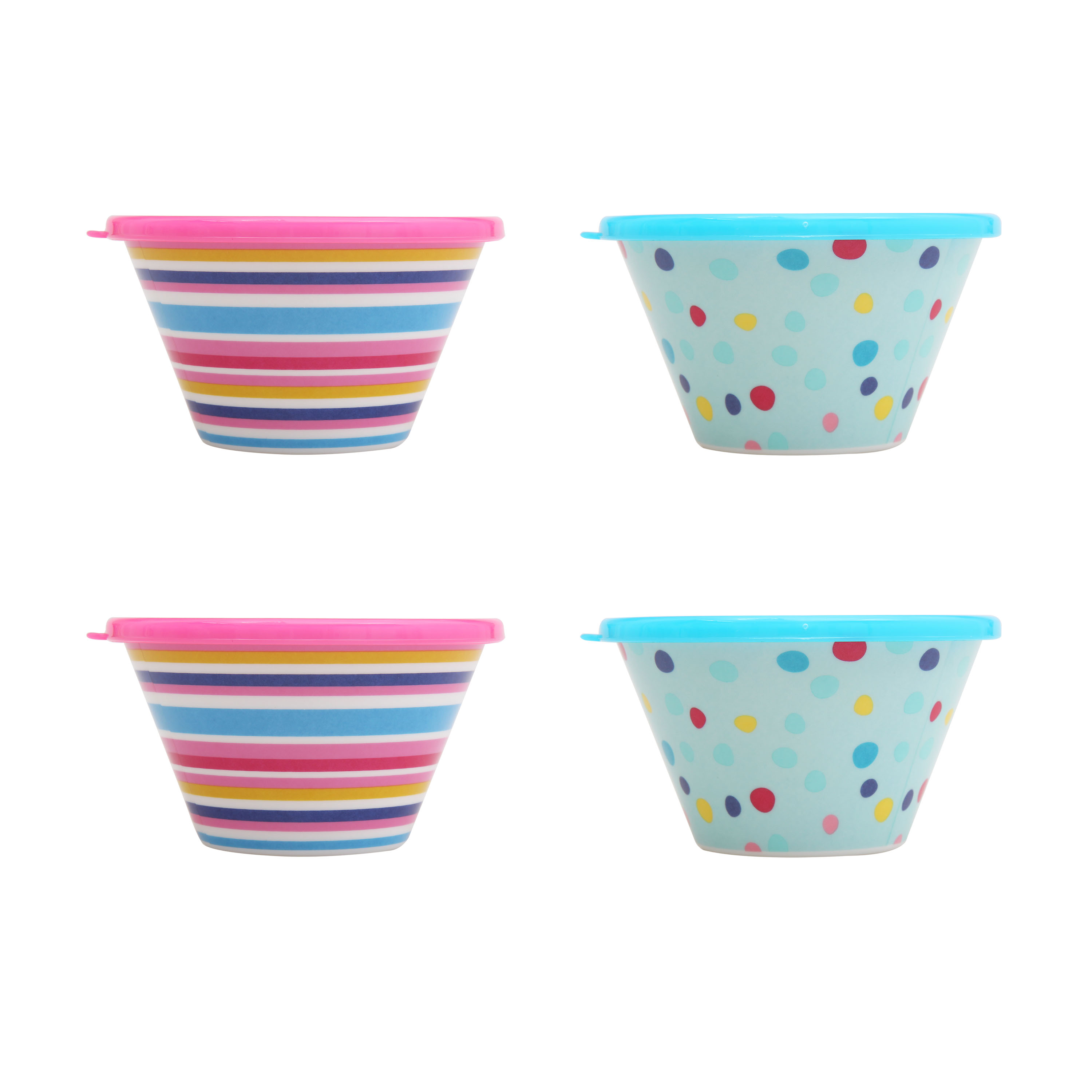Mainstays Kids 4-Pack Melamine Berry Bowl with Lid, Multiple