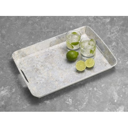 Elements 18 x 13 inch Yellow Marble Melamine Serve Tray