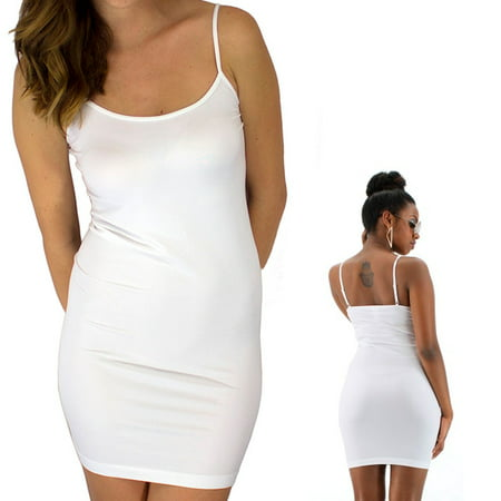 White Tunic Dress - Extra Long Seamless Tunic Dress Slip Camisole Layering Tank Top Spandex One Size