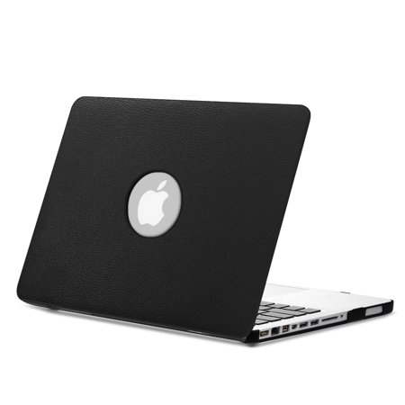 Fintie MacBook Pro 13 Case (Non-Retina) with PU Leather Coated Plastic Hard Cover Snap On Protective Cover, Black