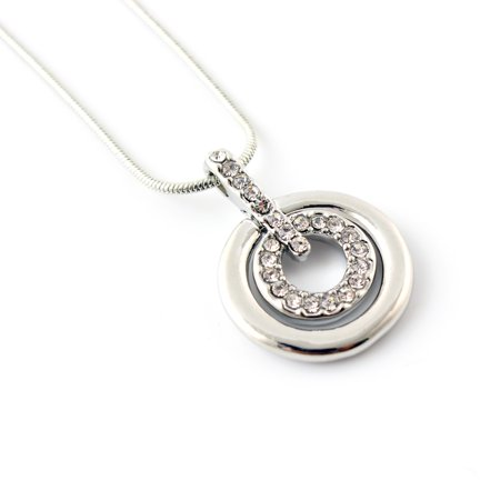 Women Crystal Rhinestone Silver Plated Necklace with Concentric Circles Pendant Gift - Silver Circle Of Love Crystal