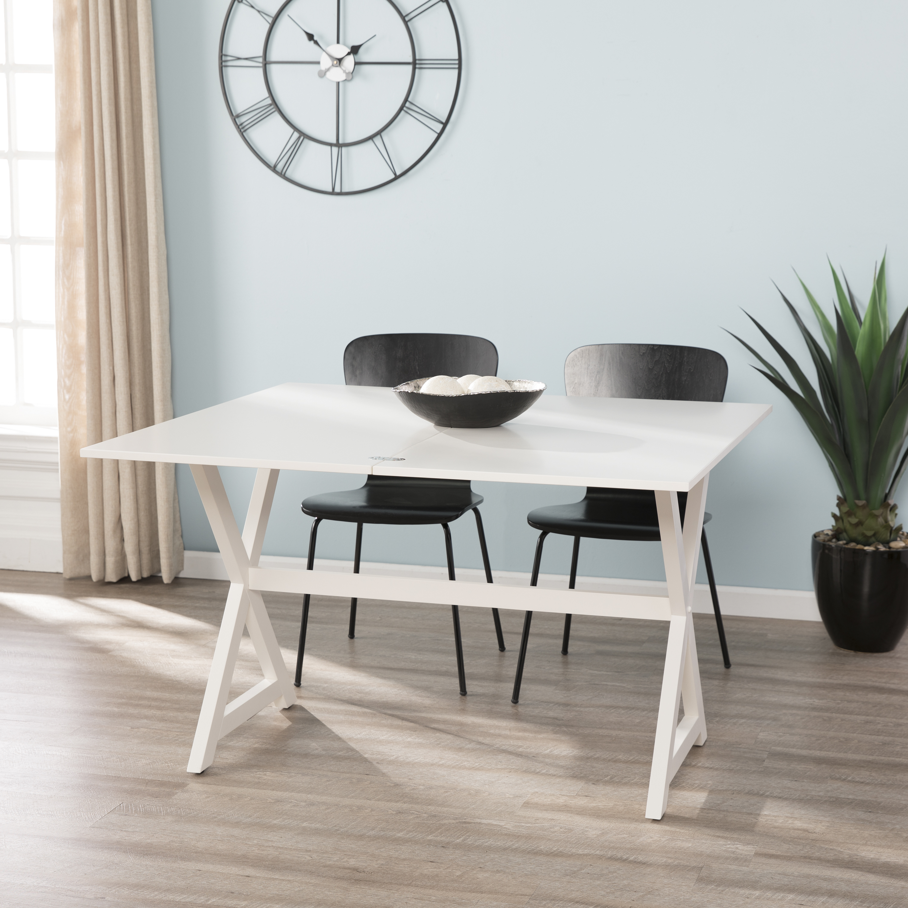 Cagor Convertible Console To Dining Table, Coastal, White