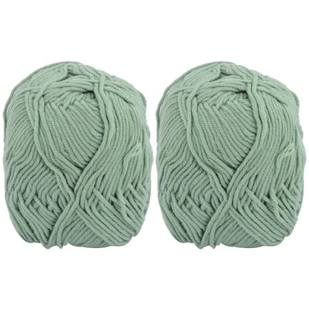 Family Handmade Crochet Scarf Hat Slipper Shawl Yarn String Pale Green 100g 2pcs