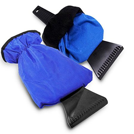 Zento Deals Waterproof Ice Scraper Vehicle Mitt - 2-Pack Superb Quality Blue Car Windshield Ice Snow Remover Glove ()