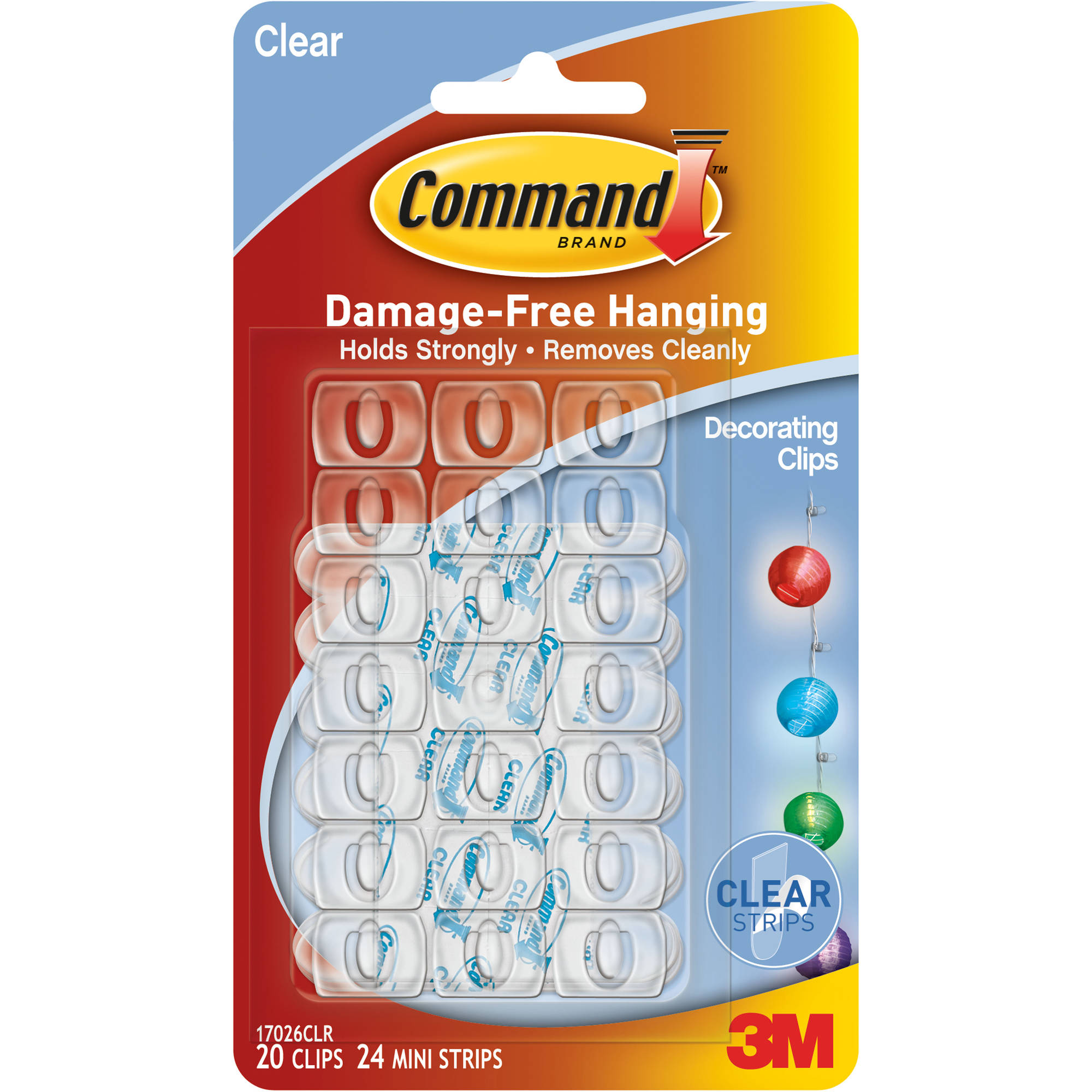 Command Clear Decorating Clips/Strips (20 clips, 40 strips)