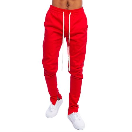 Men's HipHop Poly Side Ankle Zip Long Drawstring Solid Techno Track Pants KB3074-S-Red
