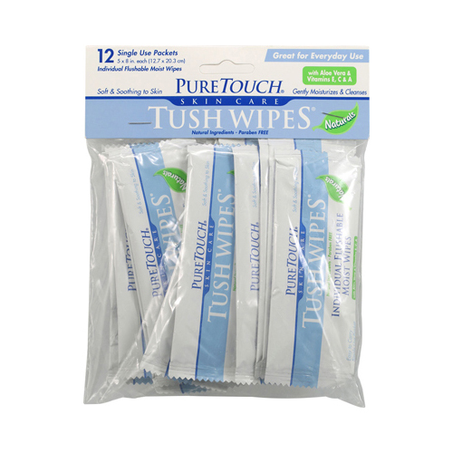 Puretouch Skin Care Tush Wipes Naturals - 12 Packets
