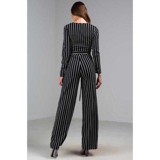 49cc08b31a8 AKIRA - AKIRA Women s Pinstripe V Neck Long Sleeve Belted Flare Wide Leg  Jumpsuit - Walmart.com