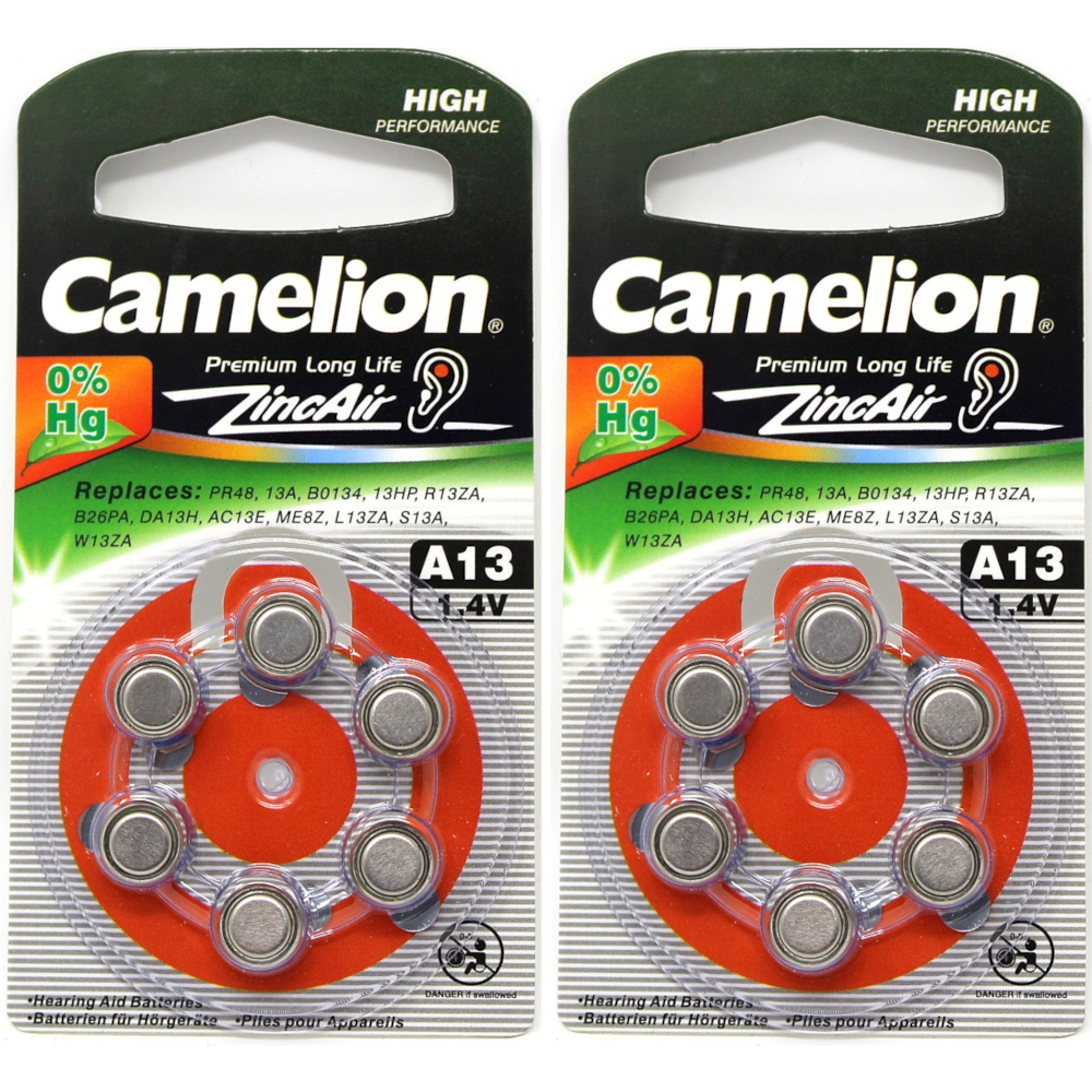 2 Pack Camelion A13 1.4V 280mAh Zinc Air Hearing Aid Batteries 6 Count Each