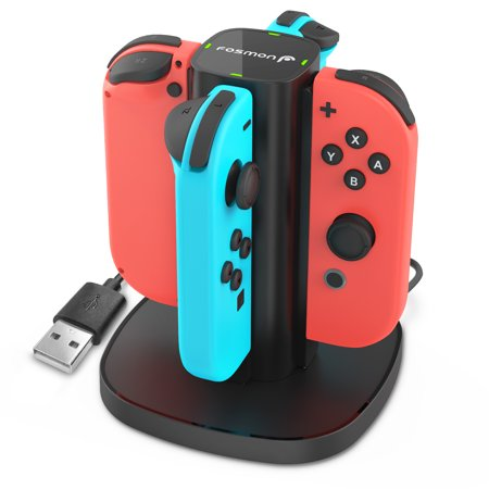 Black Docking System - Charging Dock Switch, Fosmon 4-in-1 Joy-Con / NES JoyCon Controller Charger Station Stand with LED Indicators for Nintendo Switch - Black