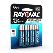Rayovac High Energy Alkaline, AA Batteries, 4 Count