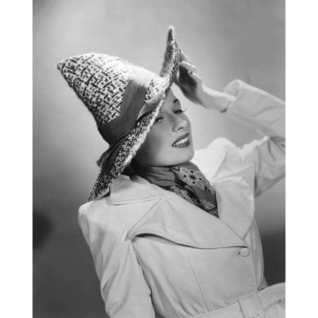 Patricia Morison In Original John-Frederics Model Straw Hat Portrait