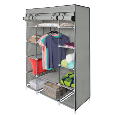53inch portable reinforced steel frame closet cabinet coat clothes storage organizer wardrobe clothing rack organization gray