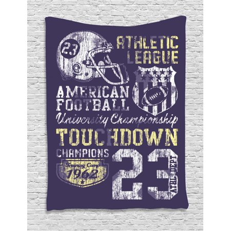 Sports Tapestry, Retro Style American Football College Theme Illustration Athletic Championship Apparel, Wall Hanging for Bedroom Living Room Dorm Decor, Purple, by Ambesonne - College Football Themes