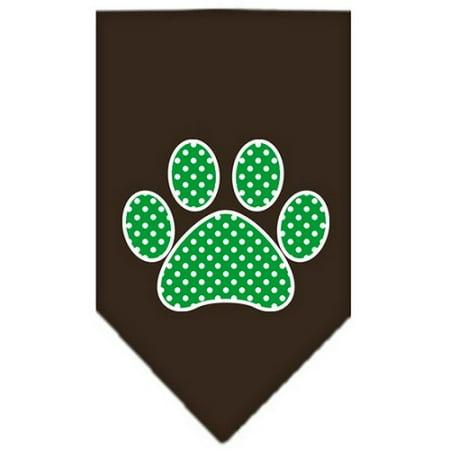 - Mirage 66-104 SMCO Green Swiss Dot Paw Screen Print Pet Bandana Cocoa Small
