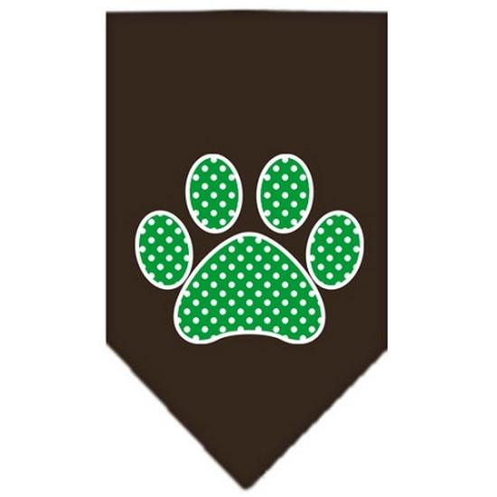 Green Swiss Dot Paw Screen Print Bandana Cocoa Large