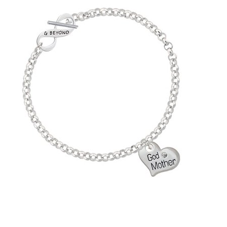 (Large ''Godmother'' Heart with Clear Crystal & Beyond Infinity Toggle Chain Bracelet)