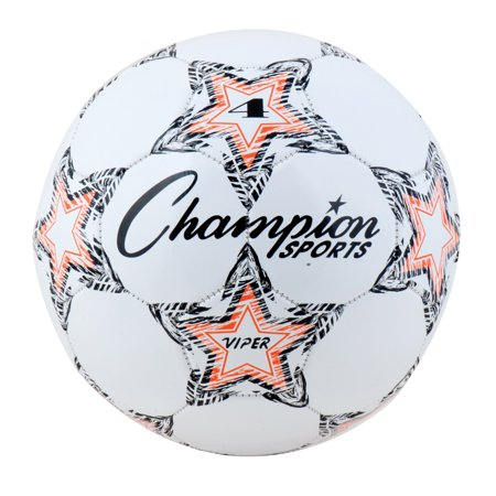 Champion SportS Viper white and orange soccer ball, size 4 (Pink Soccer Ball)