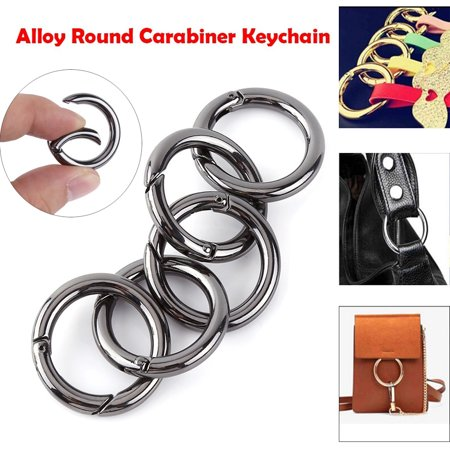 Vgeby 5pcs Zinc Alloy Round Carabiner Spring Snap Clips Hook
