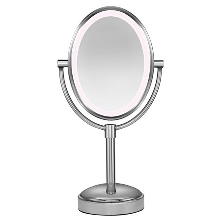 Conair Chrome Mirror - Conair Oval Shaped LED Double-Sided Lighted Makeup Mirror 1x/10 Magnification , AC plug, Touch 3 levels Polished Nickel